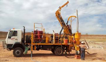 Drillwest Air-Core Rig 10 drilling Grade Control in open pit operation.